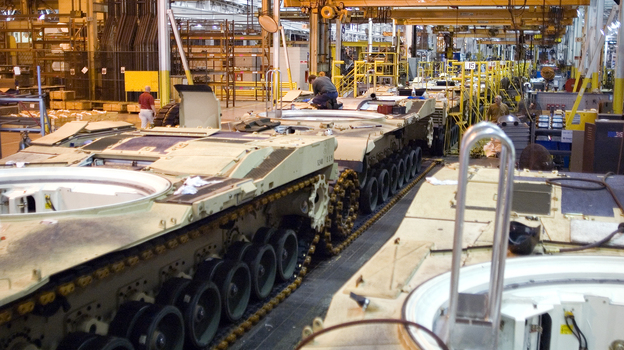 M1 Abrams tanks sit on the assembly line at a plant in Lima, Ohio, the only place where the tanks are manufactured. Plant and local officials fear the plant won't survive if the military temporarily halts new tank orders. (General Dynamics Land Systems)
