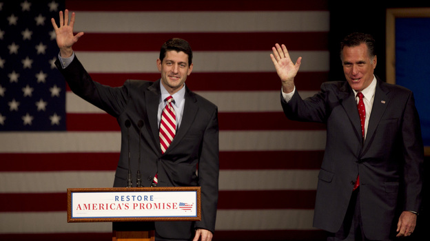 Rep. Paul Ryan (left), R-Wis., and GOP presidential candidate Mitt Romney at a campaign stop in Appleton, Wis., on March 30. (AP)