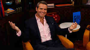 Andy Cohen on the set of his nightly Bravo talk show, Watch What Happens: Live. Cohen is also Bravo's executive vice president of development and talent, and has helped make Bravo a pop-culture heavyweight.