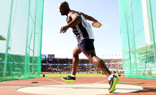 Britain's Abdul Buhari competes in the discus at the European Athletics Champion