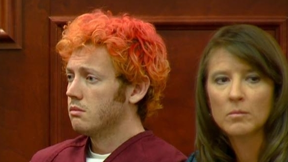 James Holmes, in an Arapahoe County, Colo., court on Monday. (KUSA-TV)