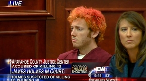 James Holmes, in an Arapahoe County, Colo., court on Monday.