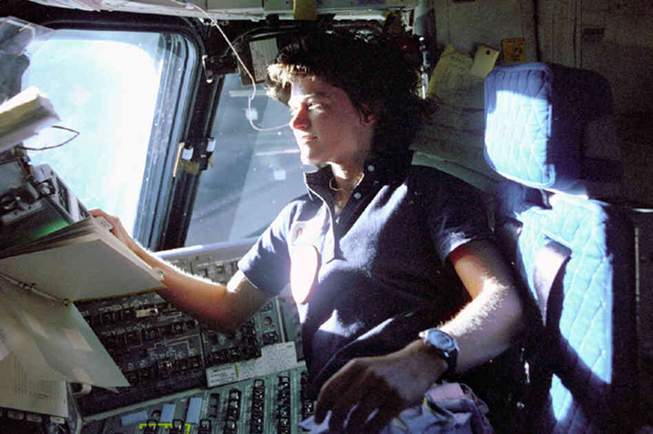 Sally Ride monitors the control panels from the pilot's chair on the shuttle Columbia in June 1983. Ride, the first American woman in space, died Monday after a 17-month battle with pancreatic cancer.