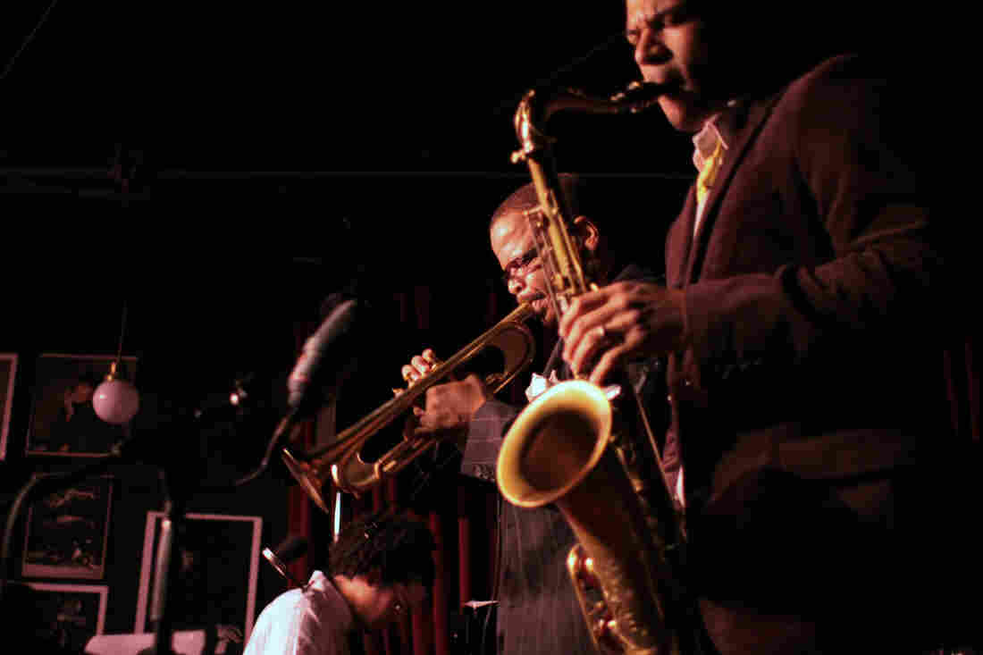 Trumpeter Terence Blanchard (center) is known as one of jazz's great cultivators of young talent, whether as an educator or leading bands with younger musicians like saxophonist Walter Smith III or pianist Fabian Almazan.