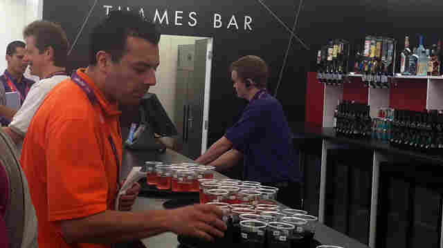 """The """"Thames Bar"""" was flowing with free drinks Monday, as the London 2012 group welcomed journalists to the Main Press Center."""