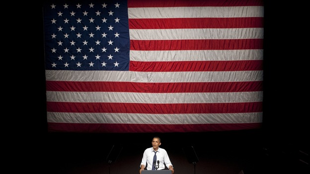 President Obama speaks at the Fox Theater in Oakland, Calif., on Monday. (AFP/Getty Images)