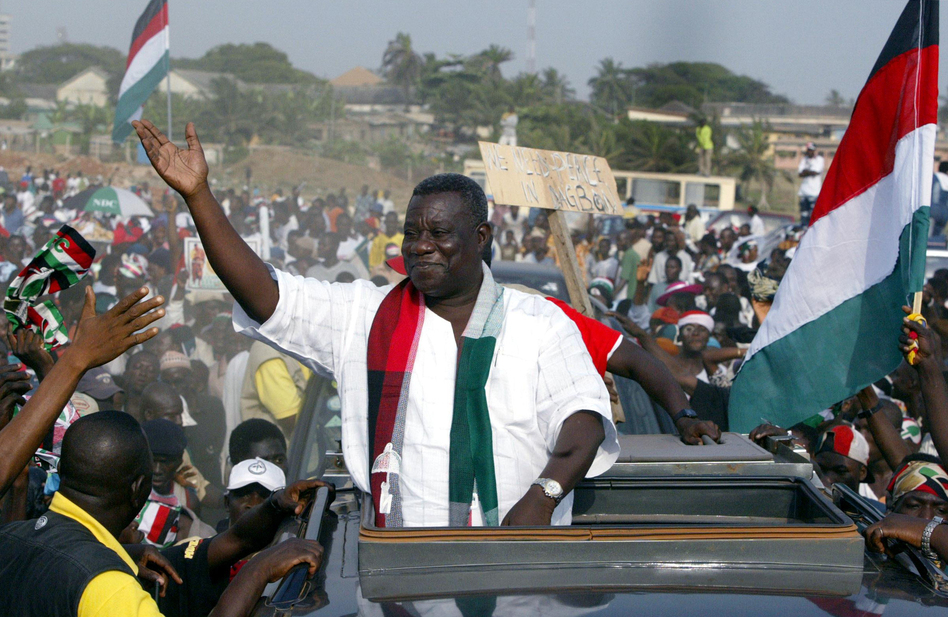 President John Atta Mills at a campaign event in 2004.