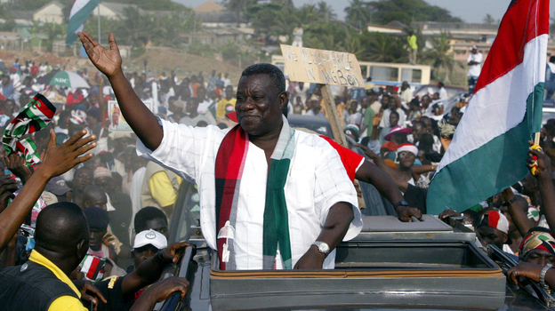 President John Atta Mills at a campaign event in 2004. (AFP/Getty Images)