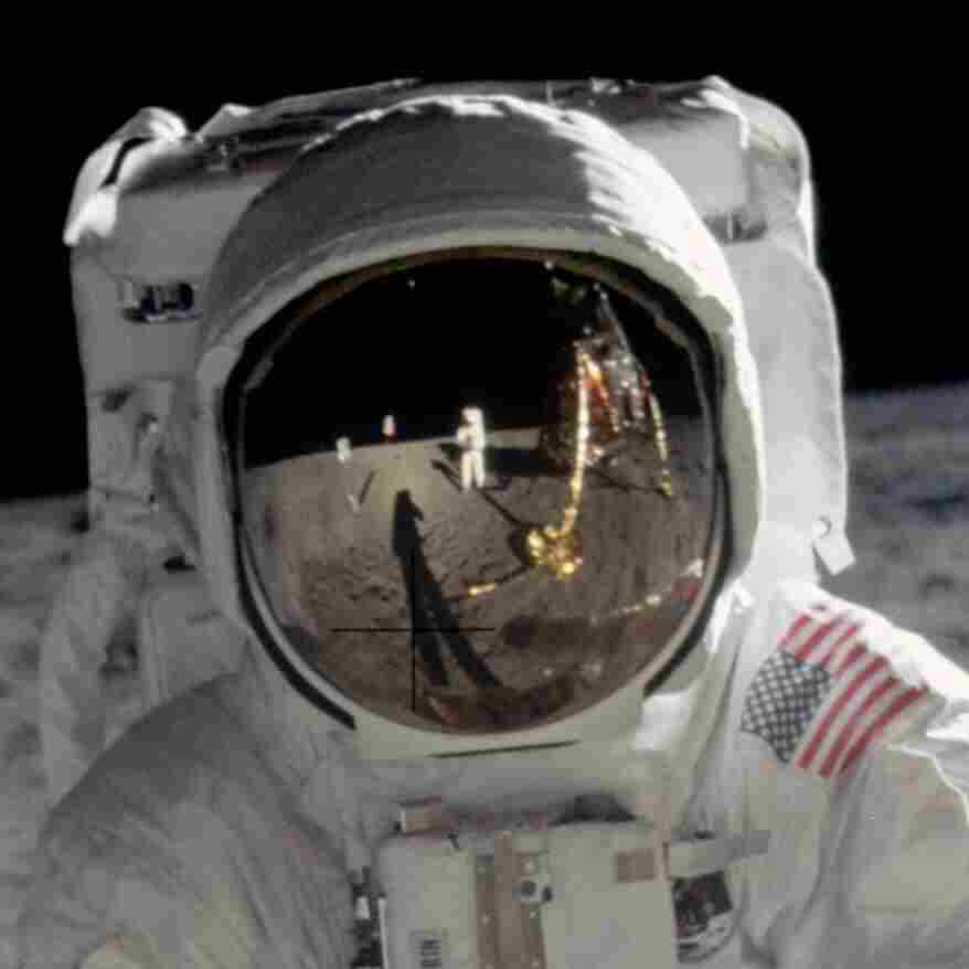 "Astronaut Edwin E. ""Buzz"" Aldrin — lunar module pilot for the Apollo 11 mission — walks on the moon in July 1969."