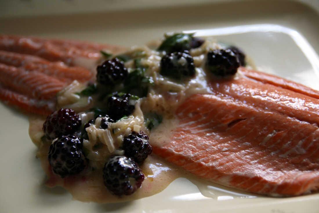 Salmon With Blackberry Creme Fraiche Sauce