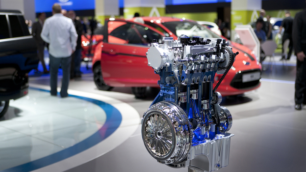 The 2011 Frankfurt Motor Show in Germany featured Ford Motor Co.'s new three-cylinder EcoBoost engine, which will hit the U.S. market next year. (Courtesy of Ford Motor Co.)