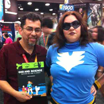 Love and Rockets author Jaime Hernandez, with a fan dressed as Boot Angel, one of the characters in God and Science.