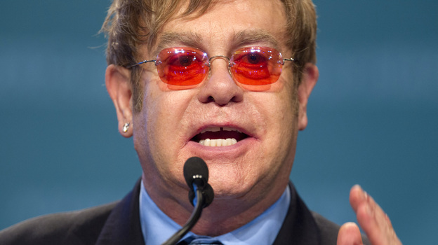 Elton John speaks at the International Aids Conference in Washington, D.C., on Monday. (AP)