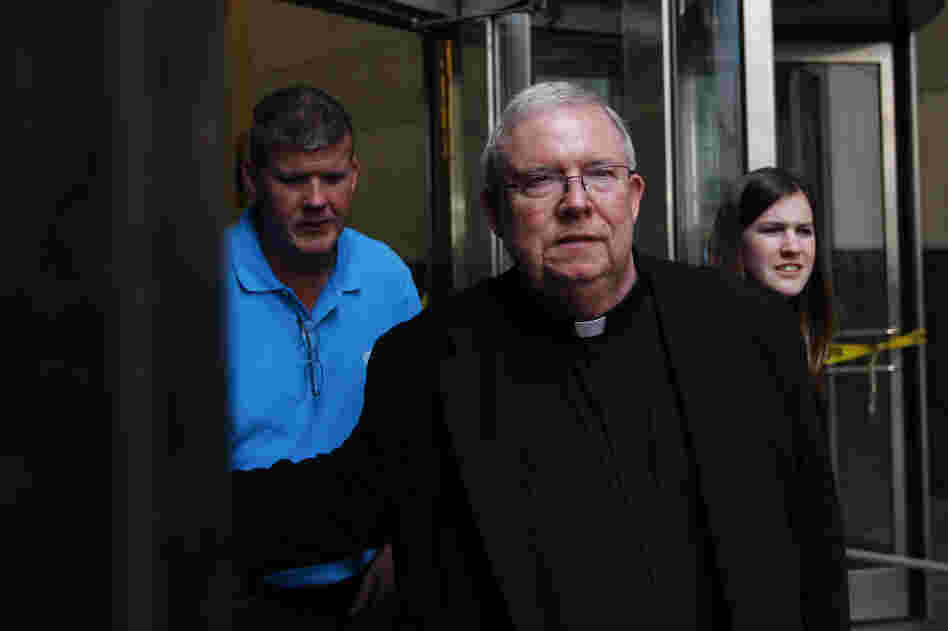 Monsignor William Lynn exits the Criminal Justice Center on Tuesday in Philadelphia.