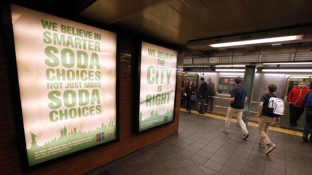 A New York subway ad from Zevia soda company, supporting the mayor's ban.