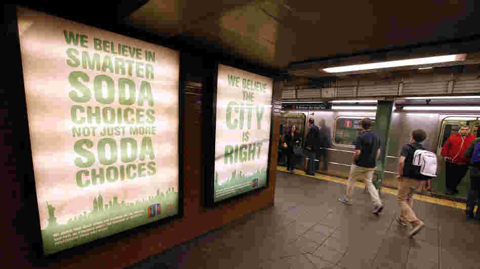 A New York subway ad from Zevia soda company, supporting the mayor's ban.