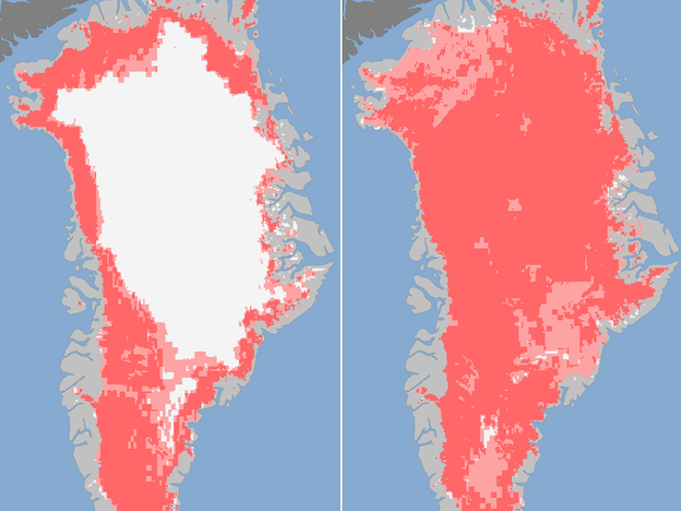 Images released Tuesday show the extent of surface melt on Greenland's ice sheet on July 8 (left) and July 12 (right). Measurements from three satellites showed that on July 8, about 40 percent of the ice sheet had undergone thawing at or near the surface. By July 12, 97 percent of the ice sheet surface had thawed. (AFP/Getty Images/NASA)