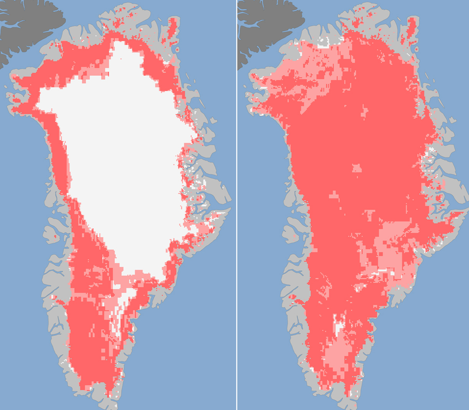 Images released Tuesday show the extent of surface melt on Greenland's ice sheet on July 8 (left) and July 12 (right). Measurements from three satellites showed that on July 8, about 40 percent of the ice sheet had undergone thawing at or near the surface. By July 12, 97 percent of the ice sheet surface had thawed.