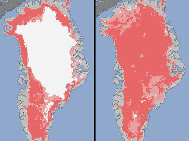 "In these illustrations NASA produced from satellite data, the melt in Greenland on July 8 (at left) and July 12 are shown. According to NASA, ""the areas classified as 'probable melt' (light pink) correspond to those sites where at least one satellite detected surface melting. The areas classified as 'melt' (dark pink) correspond to sites where two or three satellites detected surface melting."""