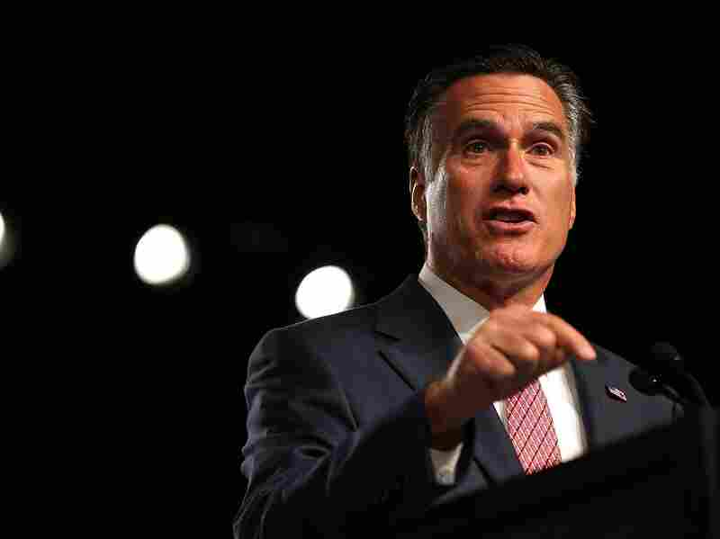 Republican presidential candidate Mitt Romney speaks during the 113th National Convention of the Veterans of Foreign Wars of the U.S. at the Reno-Sparks Convention Center on July 24 in Reno, Nev.