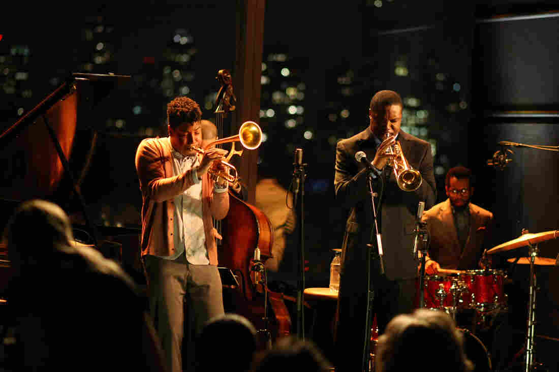 Christian Scott (left, playing himself) and Rob Brown (playing Delmond Lambreaux) perform at Jazz at Lincoln Center in the program Treme.