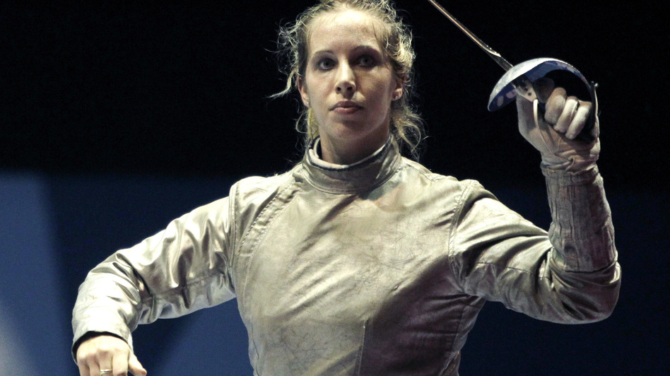 Mariel Zagunis has been named the U.S. flagbearer for the London 2012 Opening Ceremony. Here, Zagunis celebrates a win in the individual sabre final at the Pan American Games last year. (AP)