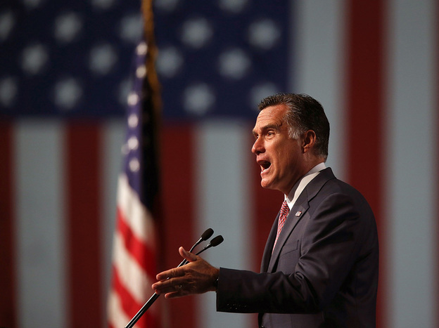 Republican presidential candidate Mitt Romney speaks during the national convention of the Veterans of Foreign Wars in Reno, Nev., on Tuesday. In the speech, Romney attacked the Obama administration's approach to China.