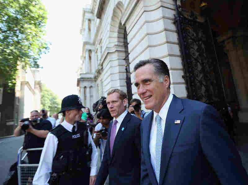 Republican presidential candidate Mitt Romney arrives at Downing Street in London on Thursday to meet with British Prime Minister David Cameron.