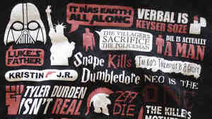 A T-shirt with many of the most infamous spoilers from movies, bo