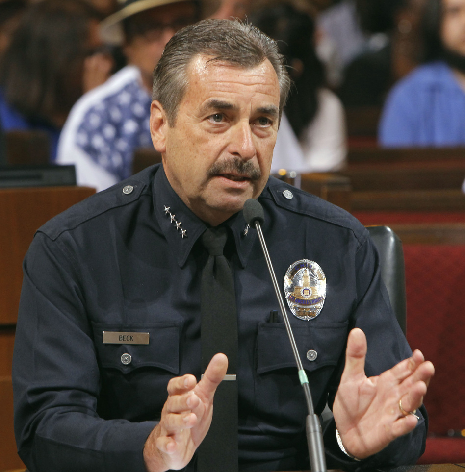 "At a Los Angeles City Council meeting Tuesday, Los Angeles Police Chief Charlie Beck says large, for-profit pot dispensaries ""cause a public danger."" (AP)"
