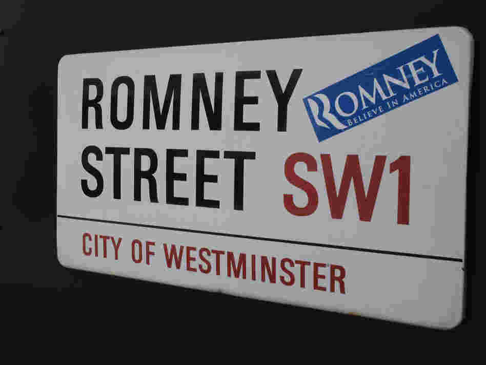 A campaign sticker for Republican presidential candidate Mitt Romney on a sign for Romney Street in London on Wednesday, as Romney arrived in the city ahead of the Olympic Games.