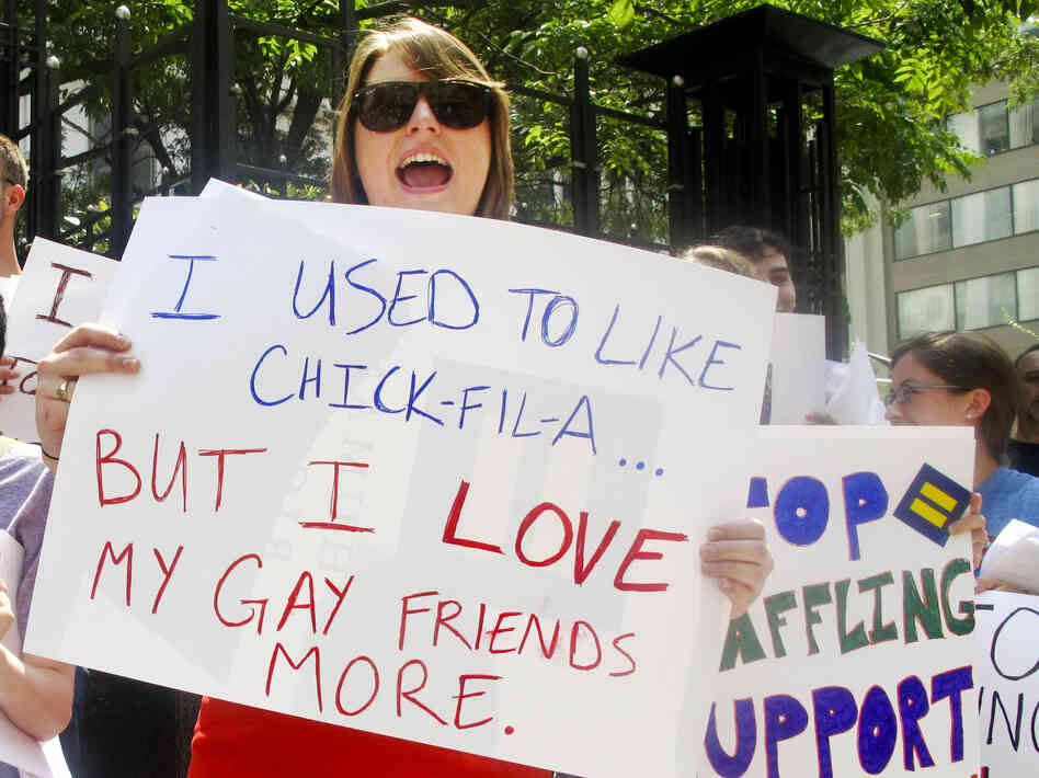 Protesters from the Human Rights Campaign chant against Chick-fil-A President Dan Cathy's anti-gay marriage stance in front of a Chick-fil-A food truck in Washington, D.C., on Thursday.