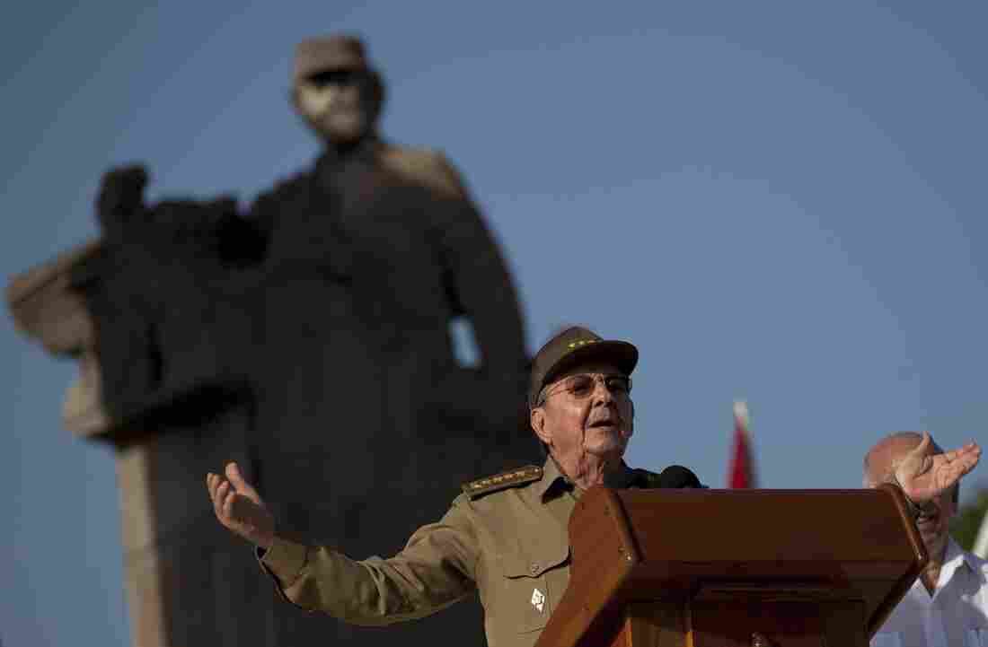 Cuba's President Raúl Castro speaks during celebrations marking Cuba's Revolution Day in Guantanamo, Cuba on Thursday.