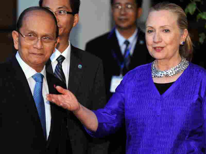 Secretary of State Hillary Clinton (R) welcomes Myanmar President Thein Sein (L) before a meeting in Siem Reap on July 13. Clinton met Myanmar President Thein Sein for landmark discussions days after Washington eased its sanctions on the once-pariah state.