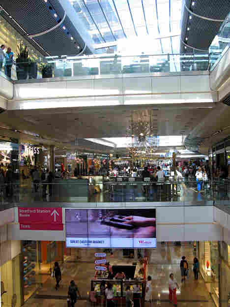 The interior of London's Westfield Stratford City Mall measures some 1.9 million square feet. Many of them were recently walked by NPR's Tom Goldman.