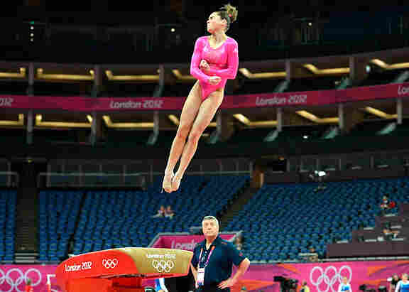 """""""It was really fun to get out there and do my vault,"""" McKayla Maroney said, after trying out the apparatus at  the North Greenwich Arena in London Thursday. Maroney is coping with the lingering effects of a broken right toe."""