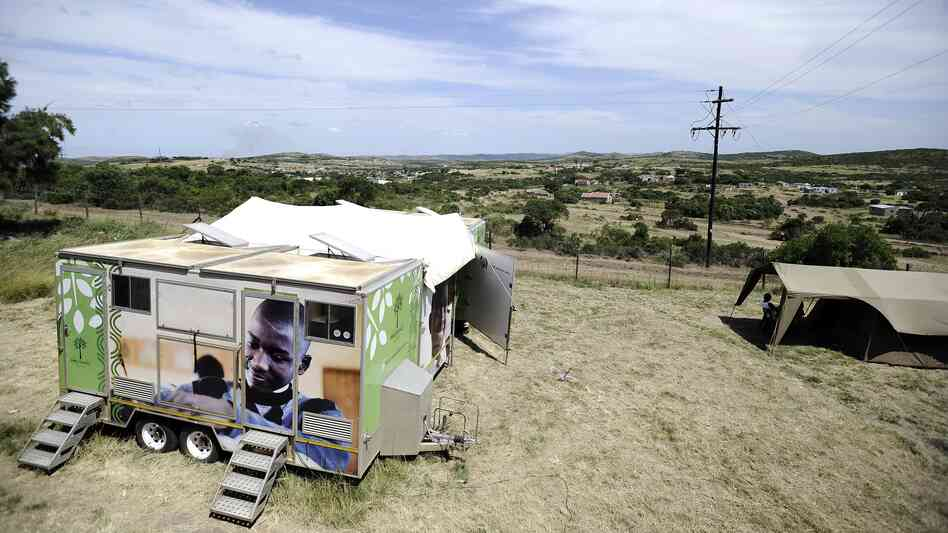 A mobile clinic set up to test students for HIV is parked near Madwaleni High School in Mtubatuba, KwaZulu-Natal, South Africa on March 8, 2011. Parts of the South African province have HIV rates that are more than twice the national avera