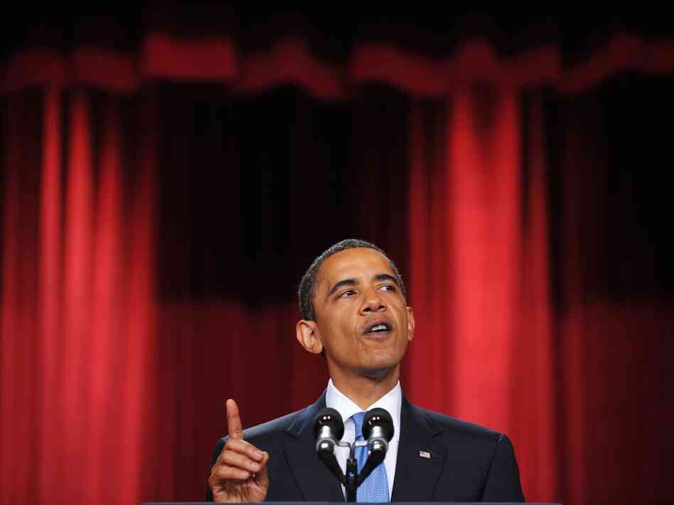 President Barack Obama delivers his message to the Muslim world from the auditorium in the Cairo University campus during a one-day visit to Egypt on June 4, 2009.