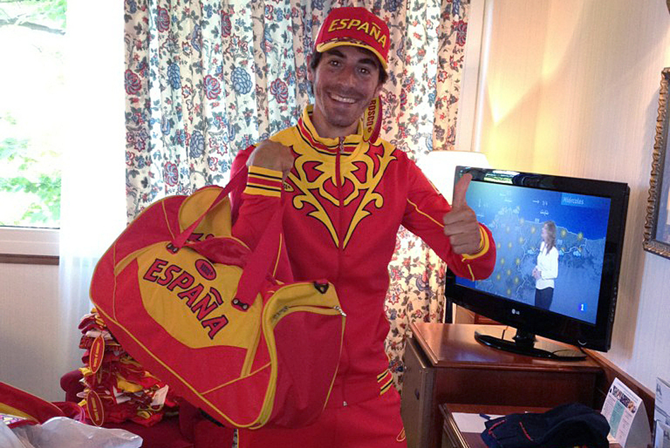 <strong>Taking One For The Team:</strong> Field hockey player Alex Fabregas modeled Spain's Olympic outfit in this photo he posted on Twitter. Athletes have been publicly stoic about the colorful clothing, which was provided for free.