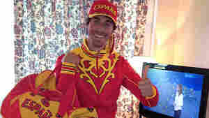 Taking One For The Team: Field hockey player Alex Fabregas modeled Spain's Olympic outfit in this photo he posted on Twitter. Athletes have been publicly stoic about the colorful clothing, which was provided for free.