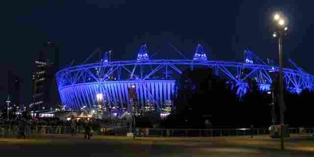 The Olympic Stadium is lit up for an Opening Ceremony dress rehearsal this week.