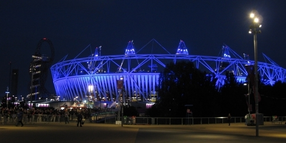The Olympic Stadium is lit up for an Opening Ceremony dress rehearsal this week. (NPR)