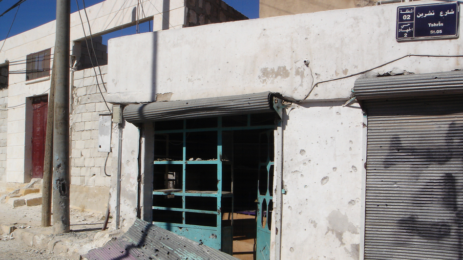 Most civilians have fled the Syrian town of Derat Azza after protracted shelling by Syrian troops. Shops are closed, and  rebels are trying to tightly control any information flowing out of the town. (Bunny Coleman for NPR  )