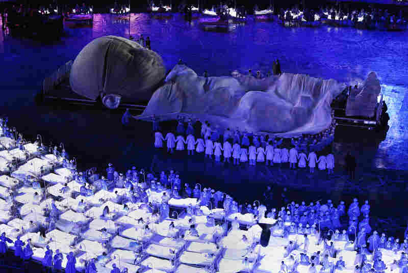 A general view of the opening ceremony. The 2012 Olympic Games will see 26 sports contested by 10,500 athletes over 17 days of competition.