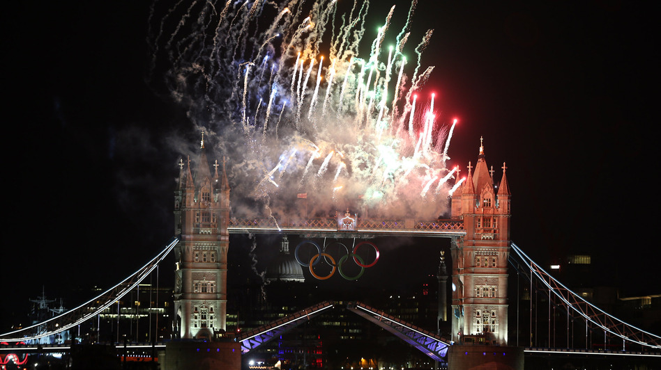 Fireworks light up Tower Bridge as the London 2012 Olympics opening ceremony takes place Friday.  (Getty Images)