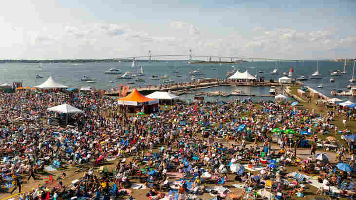 A view of the crowd and harbor from Fort Adams at the 2010 Newport Jazz Festival.