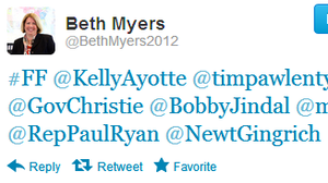 Beth Myers, who leads Mitt Romney's search for a running mate, tweeted a less-than-random assortment of Republican politicians on Friday afternoon.