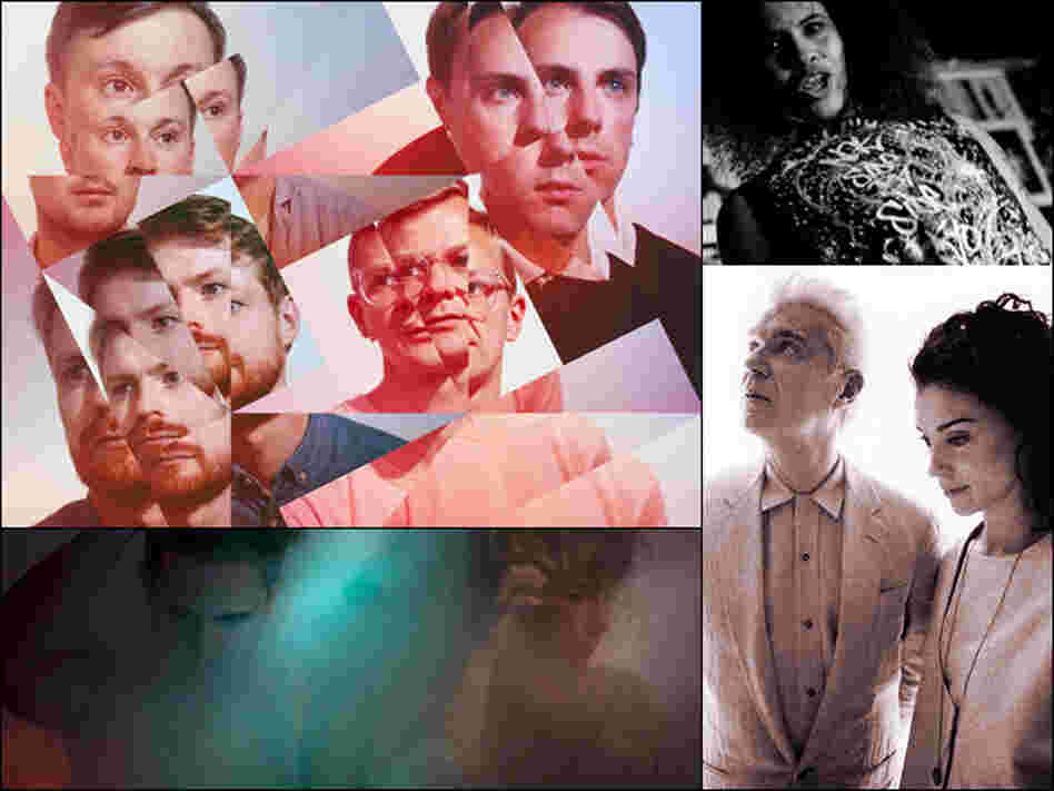 Clockwise from upper left: Django Django, Neneh Cherry, David Byrne and St. Vincent, Purity Ring.