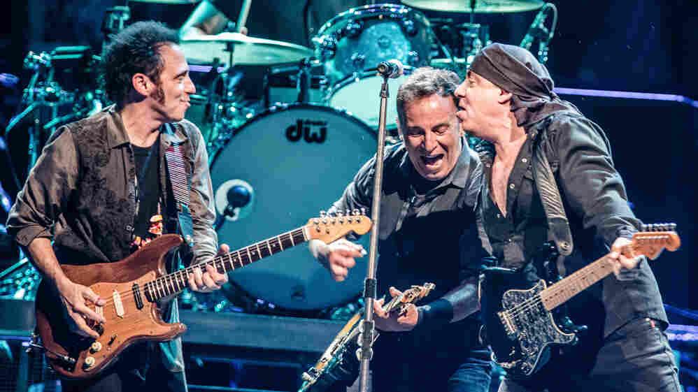 Nils Lofgren, Bruce Springsteen and Stevie Van Zandt performing in Paris earlier this month.
