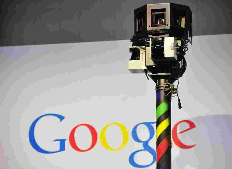 The camera mounted on a Google Street View car used to photograph whole streets obscures part of the U.S. Internet giant's logo.